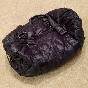 Forever 21 Black Nylon Quilted Duffle/Weekend Bag